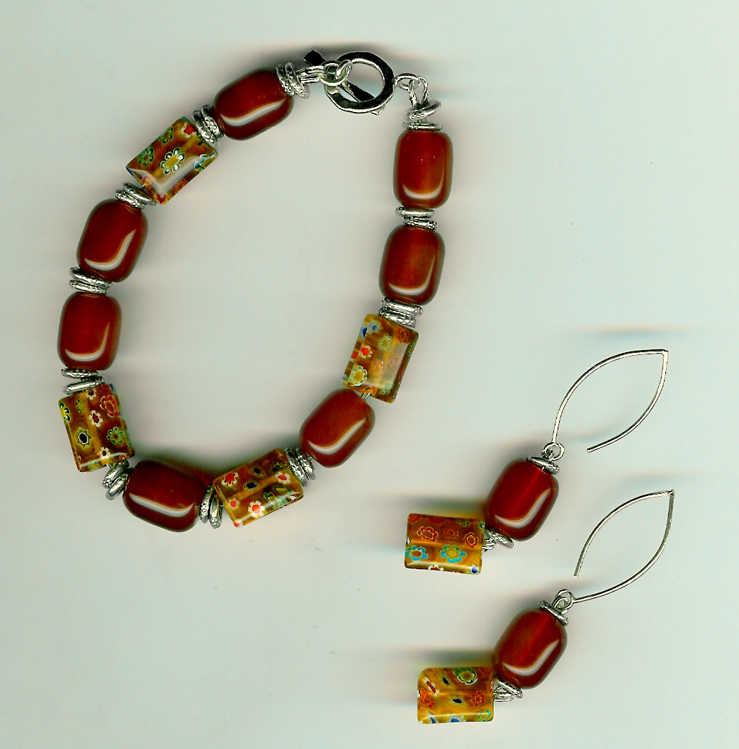 223. Red Agate, millefioriglass and Thai Sterling SIlver