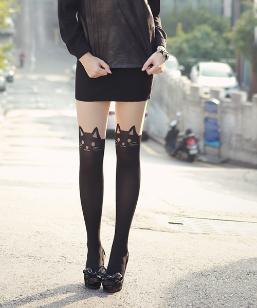 Cat Print Tights