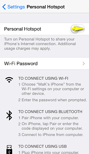personal hotspot switch on iphone