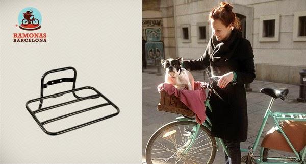 Lleva tu perro cuando vas en bicicleta. Portaequipajes delantero Flat para tu bici de paseo.