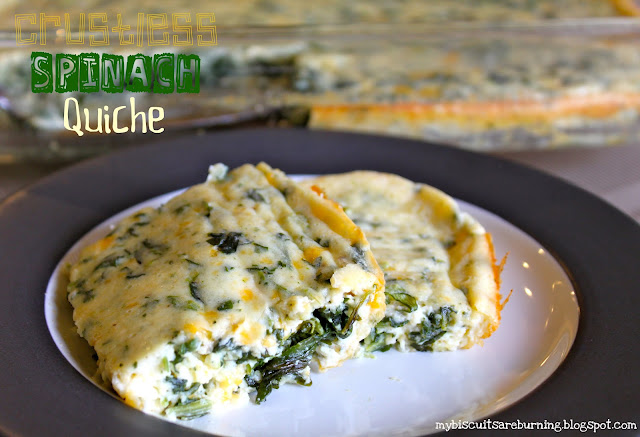 My Biscuits are Burning: Crustless Spinach Quiche~Paula Deen