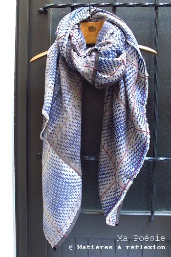 Foulard graphique bleu Ma Poésie laine