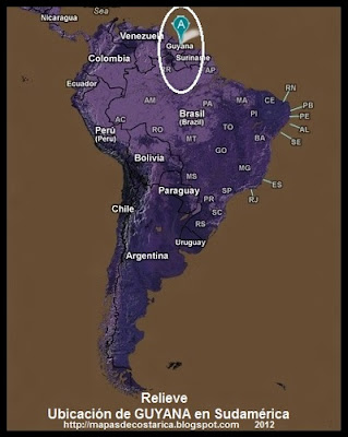Ubicación de GUYANA en Sudamérica