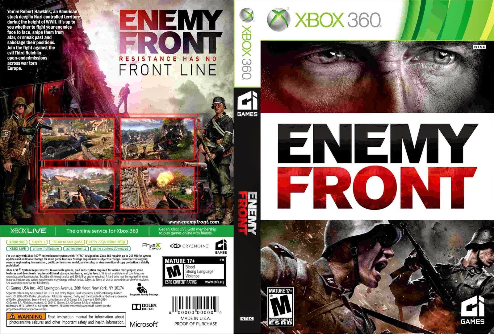 Capa Enemy Front XBOX 360