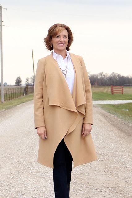 Butterick 6244 wool coat made from Mood Fabrics' wool coating