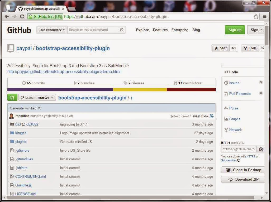 Screen shot of PayPal Bootstrap accessibility plug-in on GitHub.