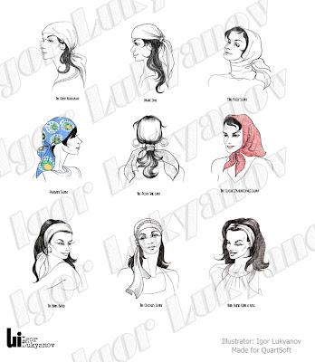 dessin de mode, croquis de mode (femmes avec foulards)