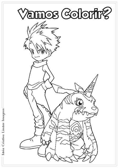 Matt e Gabumon Digimon desenho para colorir