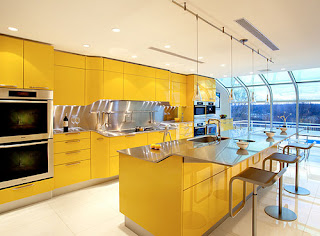 Modern and stylish yellow kitchen cabinets