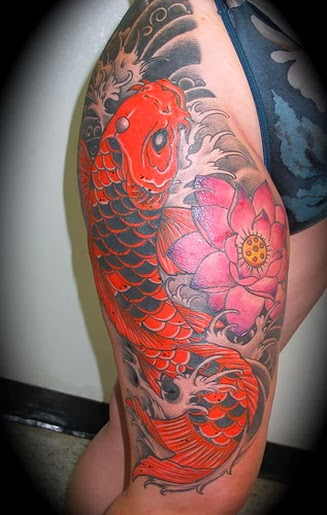 Women Koi Fish Tattoo - Thigh Tattoo Design