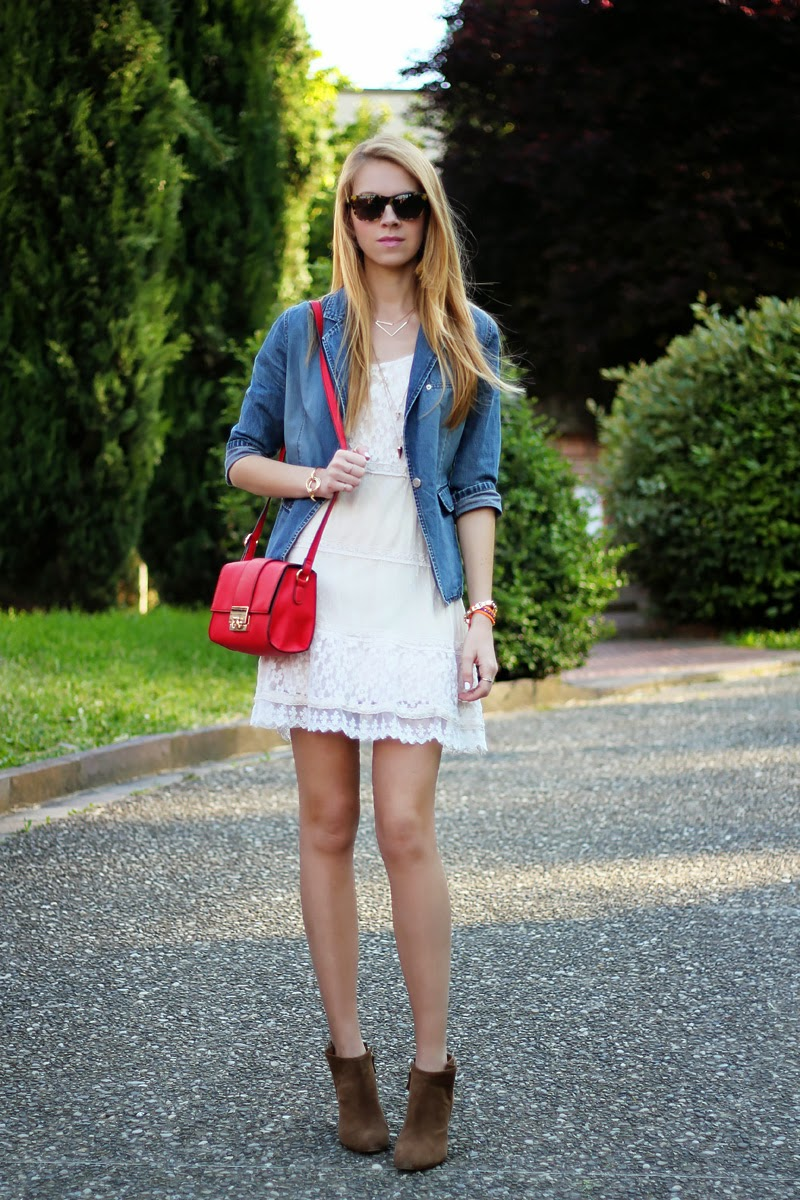 lace dress, denim jacket, cross-body bag, booties, summer outfit
