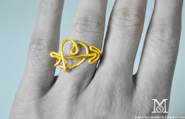 valentine's day heart and arrow love metallic wire ring,gift idea, diy gift idea,fashion diy, diy, how to, tutorial