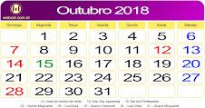 AGENDA SEMANAL DA VELOCIDADE OUTUBRO 2018