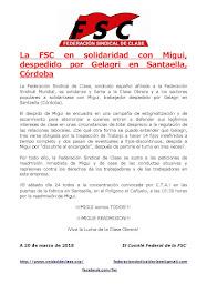 FSC en solidaridad con Migui, despedido por Gelagri