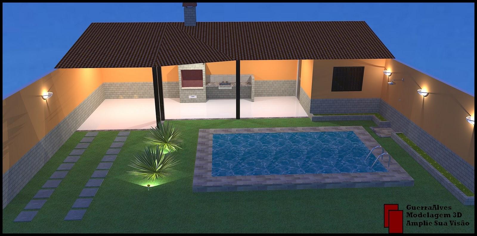 #9E532D GuerraAlves Modelagem 3D: PROJETO #7 ILUMINAÇÃO ÁREA DE LAZER 1600x794 px Projeto De Cozinha Com Area De Lazer #2817 imagens