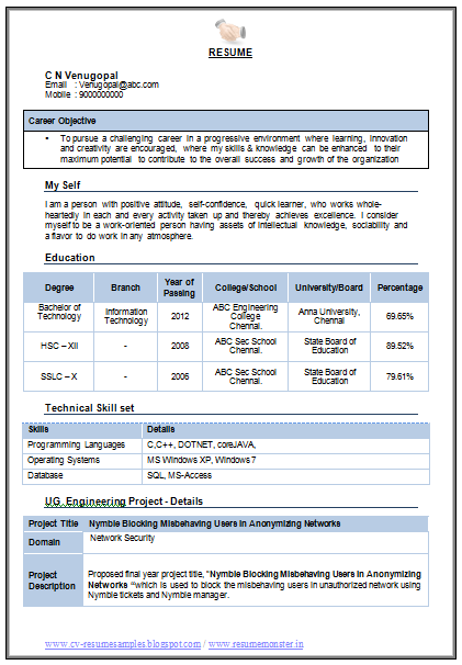 sample resume for bachelor of science in information technology