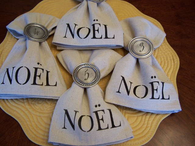 hand stenciled napkins