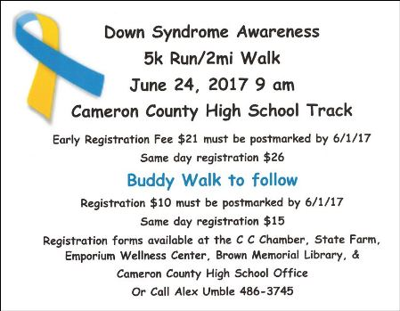 6-24 5K Run/2Mi Walk Down Syndrome Awareness