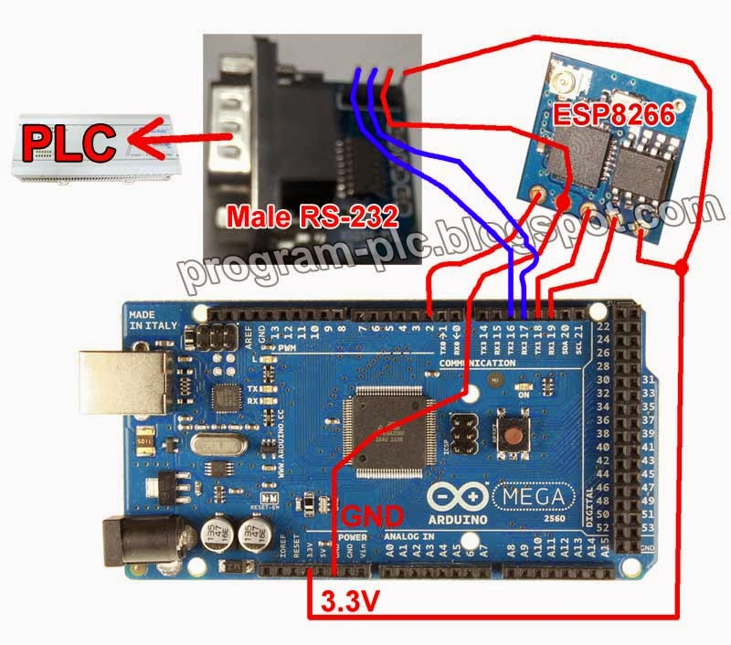 Connection between ESP8266 to Arduino and Arduino to PLC