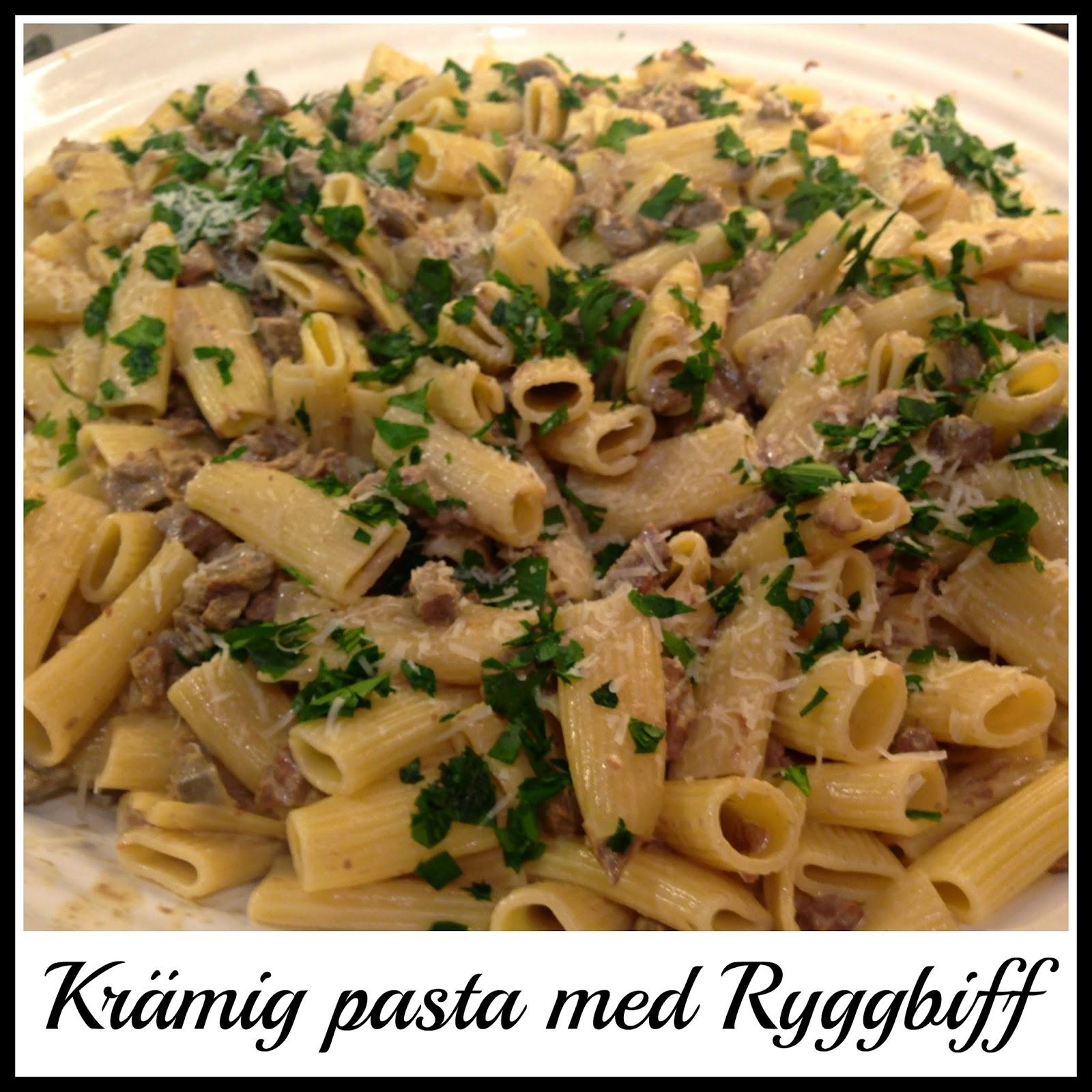 ryggbiff pasta recept