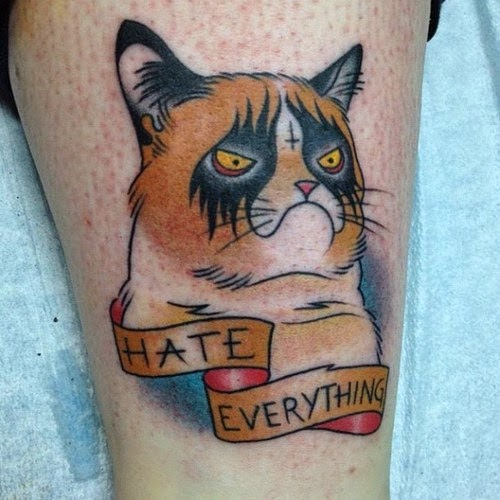 Grumpy Cat tattoo tatuaje, http://distopiamod.blogspot.com