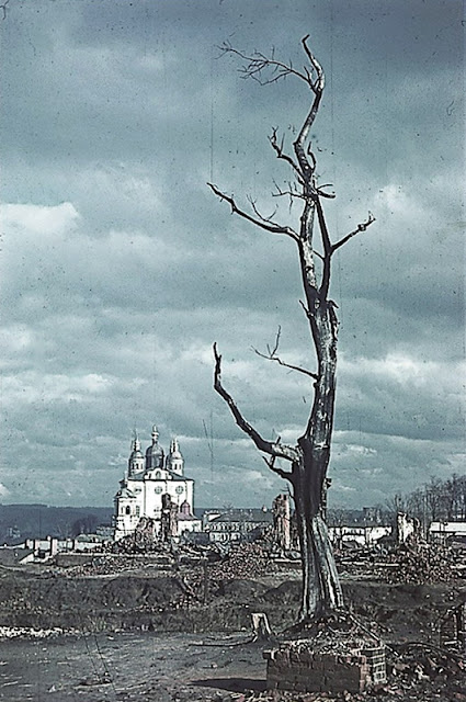 Another view of the Assumption Cathedral showing widespread destruction.