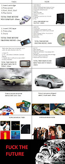 then now comparison fuck the future vhs dvd tv car credit card music, past future comparison, rage comics, future rage, past rage, past future rage comic, credit card, vhs, dvd, cars, popular music, tv, comparison