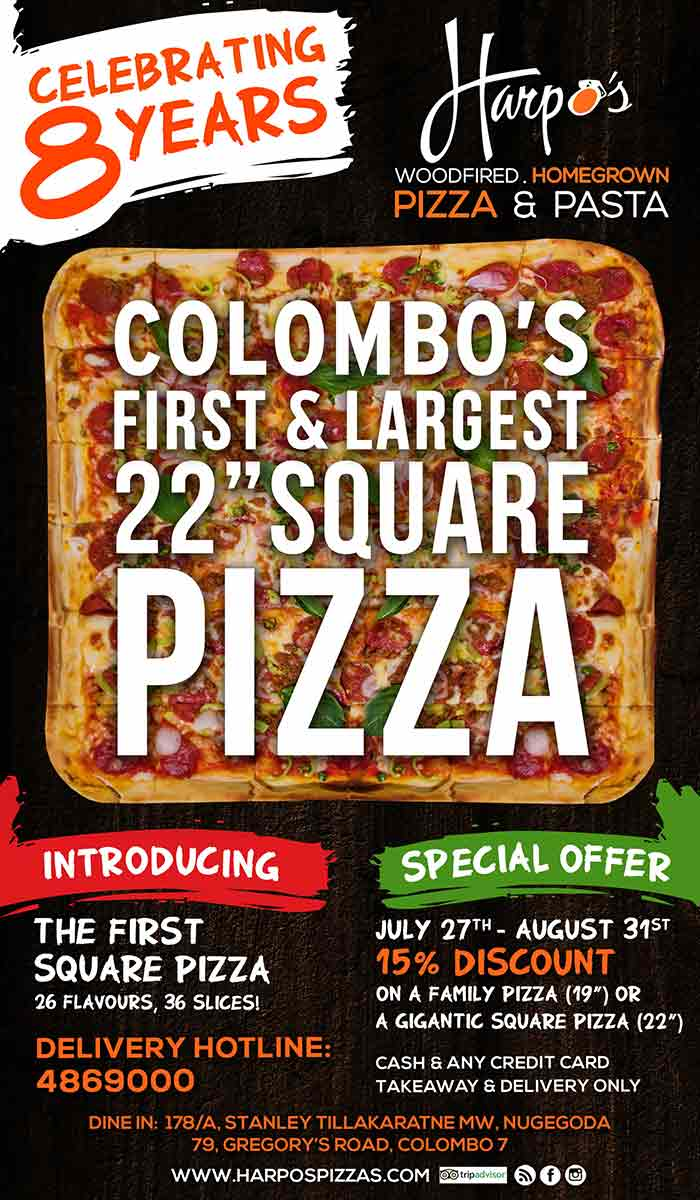"""8th Anniversary celebrations! Launching Colombo's first 22"""" Square Pizza."""