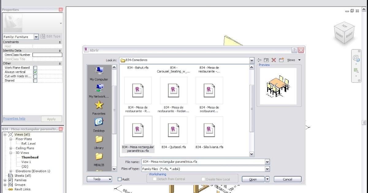 Asunto MBA-112: Revit sin previsualizaciones o vistas en miniatura en cajas de diálogo