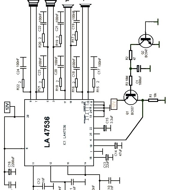 la47536 bassed high power car audio amplifier circuit with
