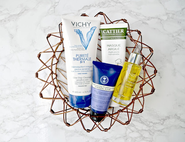vichy cleanser, cattier yellow clay mask, sanctuary spa oil review neals yard hydrating mask review