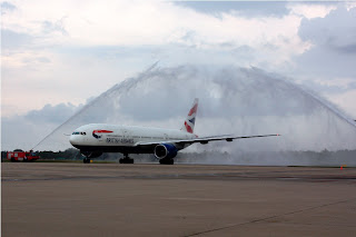 British Airways Boeing 777-200ER receives water cannon salute at Colombo airport. Image courtesy British Airways.