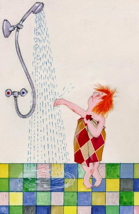 little girl in the shower illustration by Robert Wagt