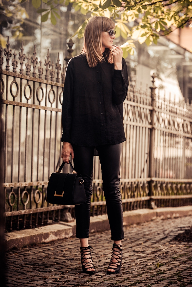 all black spring outfit, hm silk collar shirt, hm black leather pants, lace up heels, hm handbag 2014, style blogger, fashion blog