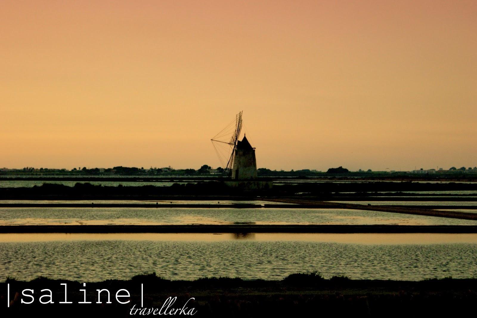 trapani, wiatraki, zachód słońca