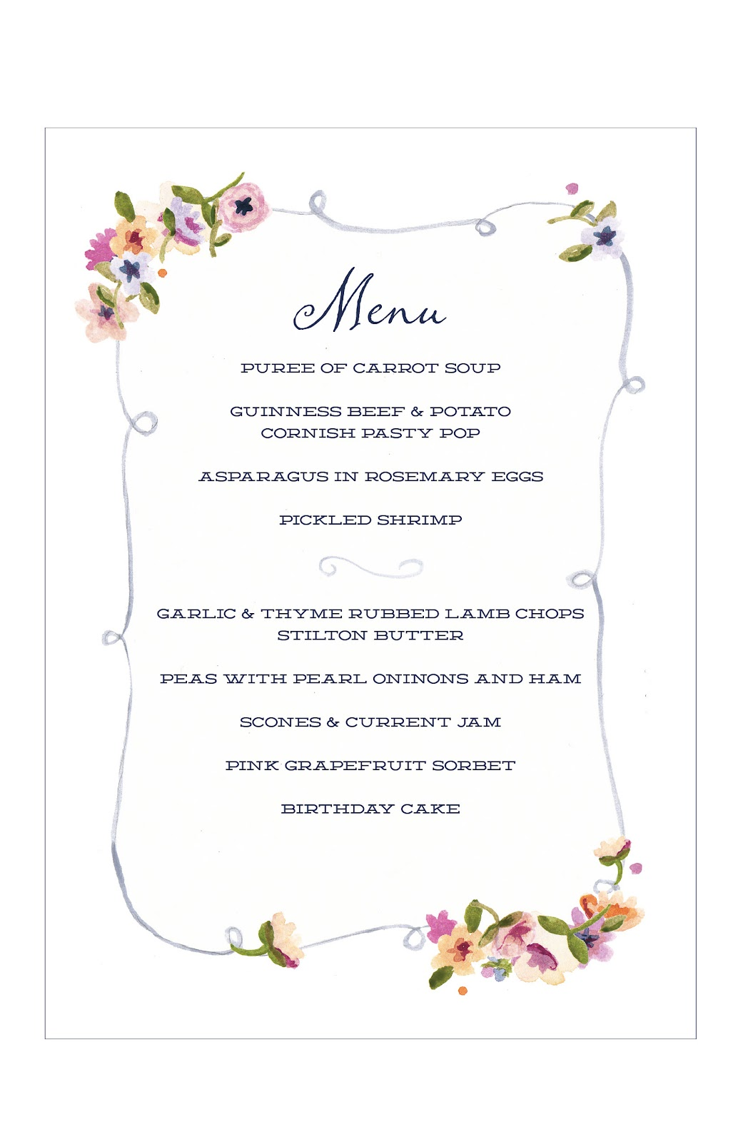 tea party menu template - margotmadison dinner a la downton abbey