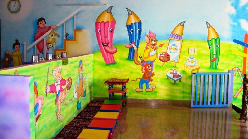 Wall Art For Play School : Play school wall painting schoo