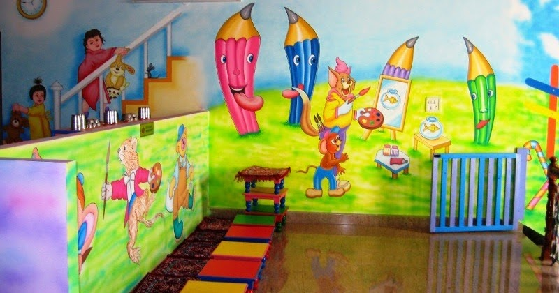 Play school wall painting schoo painting school wall for Art room decoration school