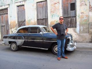 Santiago de Cuba vintage car and Pedro