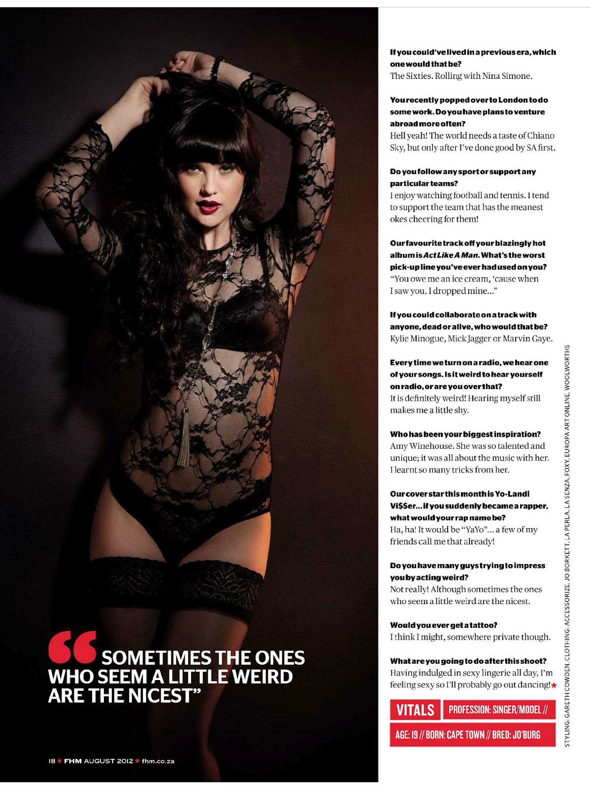 ChianoSky  FHM, Africa, August 2012