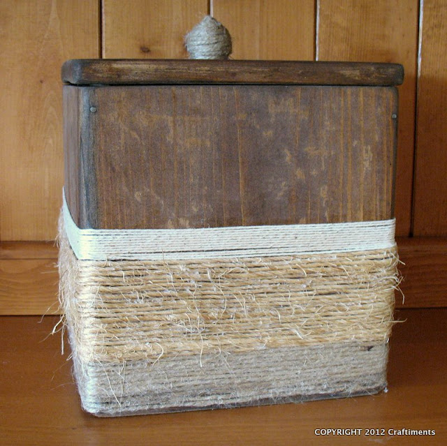 Craftiments.com:  Wood Canister Makeover with Three Types of Twine