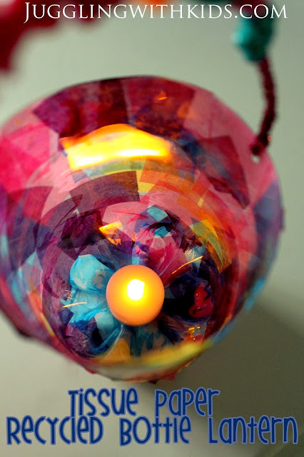 Juggling with kids soda bottle lantern virtual book club for Recycled paper lantern
