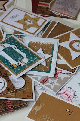 Gestanzte Weihnachtskarten, gestempelt