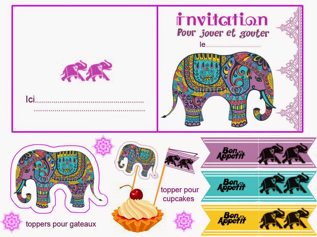 Bollywood Free Printable Invitations, Cards, Toppers and Flags for food.