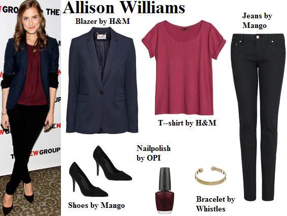 allison williams, blazer, navy blue, burgundy