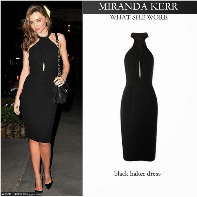 What She Wore Miranda Kerr In Black Halter Dress In New York On