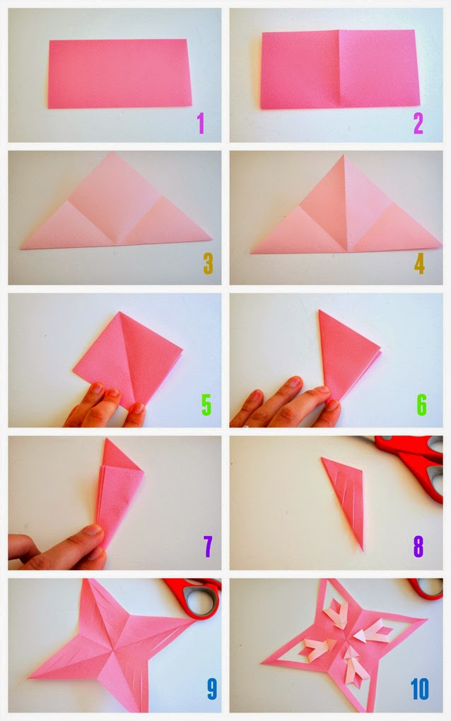 How To Fold And Cut Origami Stars Pink Stripey Socks