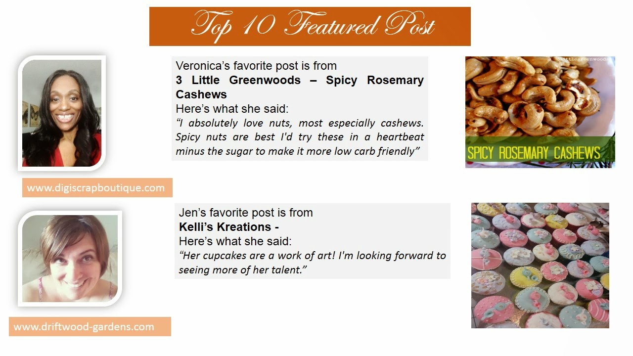 Top 10 Post Features. Veronica picked Spicy Rosemary Cashew. Jen picked Gluten Free Tea Party Cupcakes.