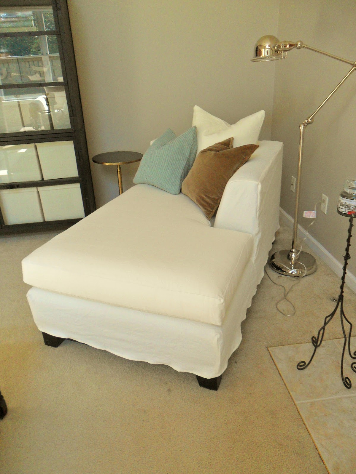 chaise lounge shabby chic fabric used was linen. Black Bedroom Furniture Sets. Home Design Ideas