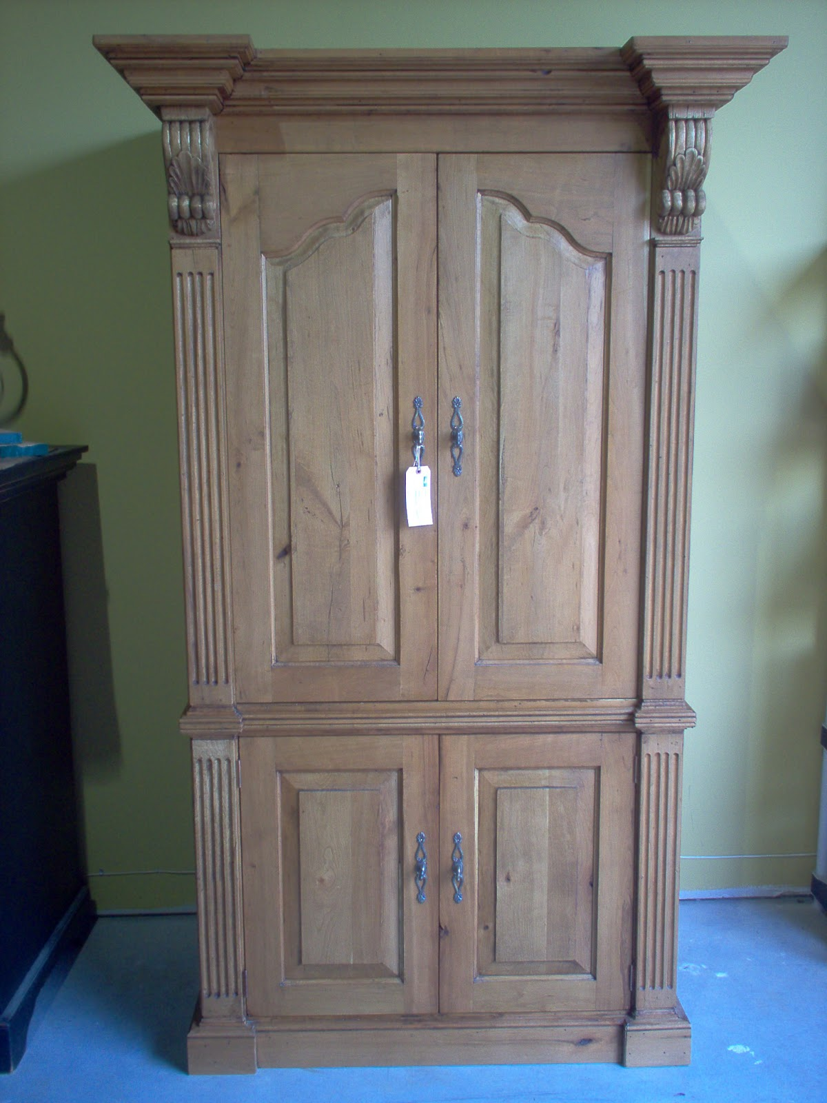 Amazing photo of Cherry TV Armoire with a light wax finish. with #205FAB color and 1200x1600 pixels